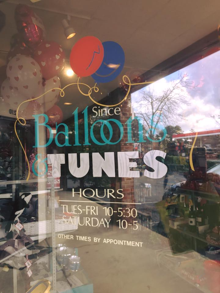 Balloons and Tunes store front window