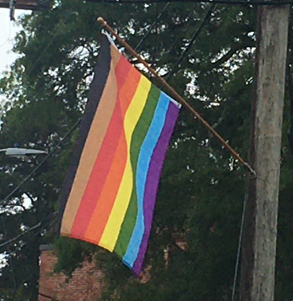Pride Day flag hanging from street light pole