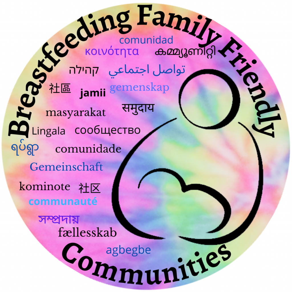 """Drawing of parent and nursing infant' text: Breastfeeding Family Friendly Communities and """"Community"""" in various languages."""